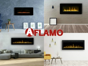 Lange brede elektrische inbouwhaarden van Aflamo sfeerhaarden
